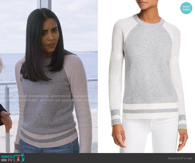 Color-Block Raglan Cashmere Sweater by AQUA Cashmere worn by Saanvi (Parveen Kaur) on Manifest