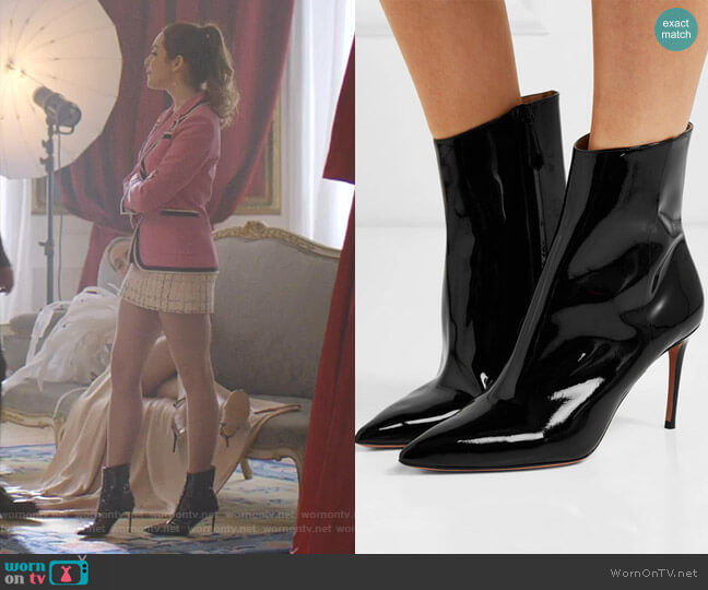 Alma Ankle Boots by Aquazzura worn by Fallon Carrington (Elizabeth Gillies) on Dynasty