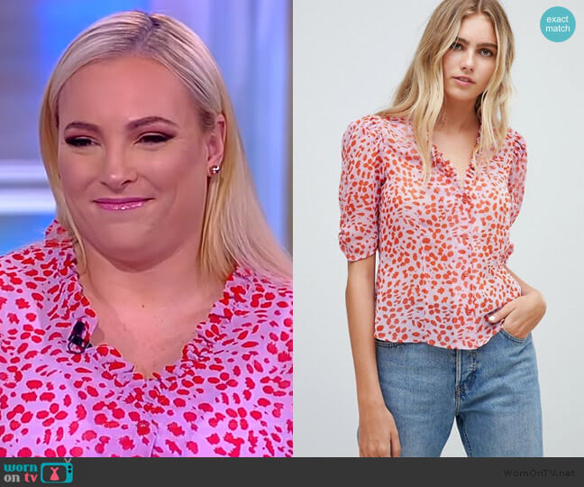 Sheer Tea Blouse in Leopard Print with Ruffle Collar worn by Meghan McCain (Meghan McCain) on The View