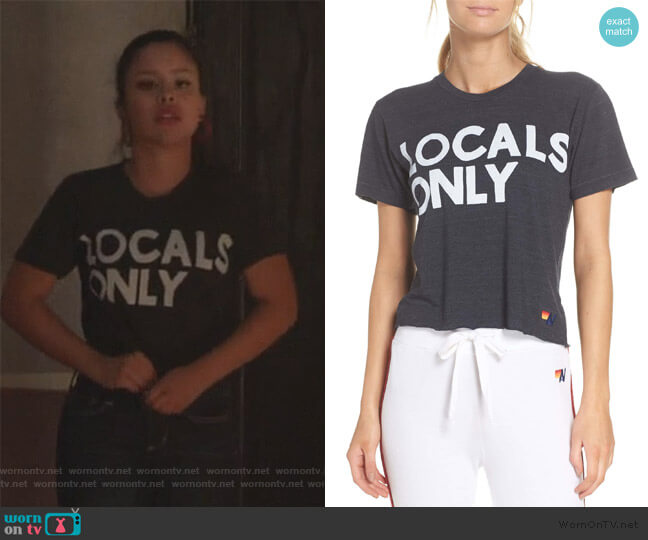 Locals Only Boyfriend Tee by Aviator Nation worn by Mariana Foster (Cierra Ramirez) on Good Trouble