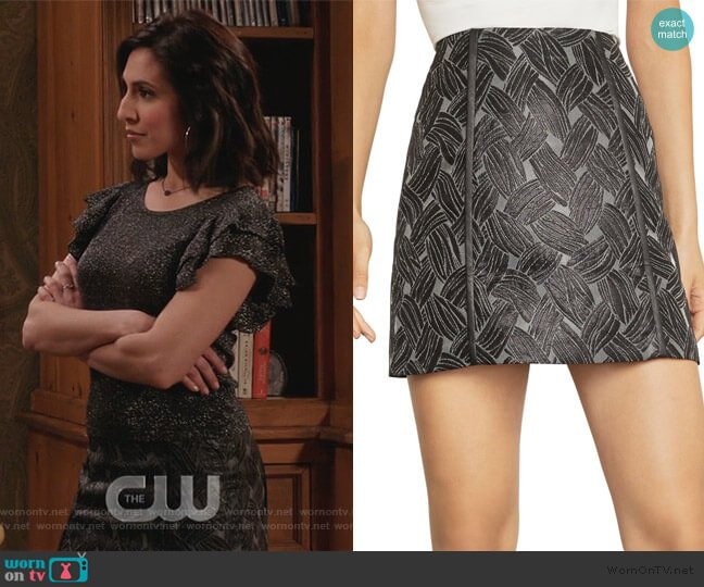 Basket Weave Jacquard Mini Skirt by BCBGMAXAZRIA worn by Valencia Perez (Gabrielle Ruiz) on Crazy Ex-Girlfriend
