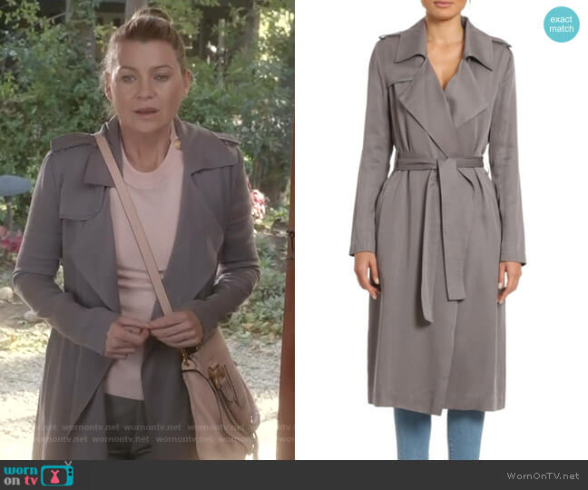 Angelina Trench Coat by Badgley Mischka worn by Meredith Grey (Ellen Pompeo) on Greys Anatomy