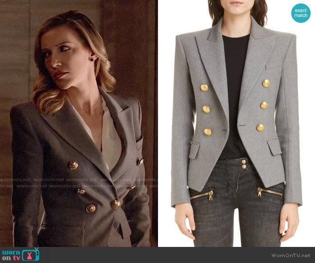 Balmain Double Breasted Wool Blend Jacket worn by Laurel Lance (Katie Cassidy) on Arrow