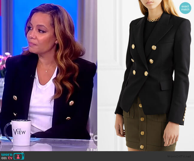 Double-breasted grain de poudre wool blazer by Balmain worn by Sunny Hostin (Sunny Hostin) on The View