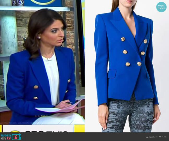Double Breasted Jacket by Balmain worn by Bianna Golodryga  on CBS This Morning