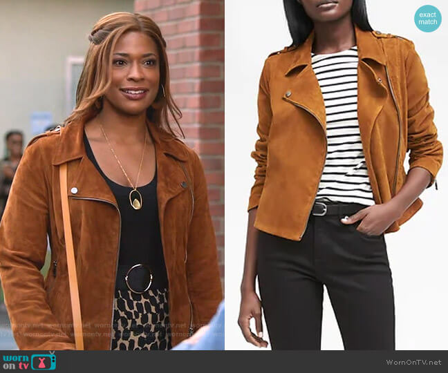 Life in Motion Stretch Suede Mot Jacket by Banana Republic worn by Poppy (Kimrie Lewis) on Single Parents