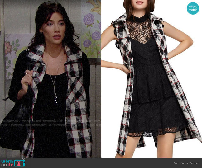 Bcbgeneration Plaid Long Vest worn by Steffy Forrester (Jacqueline MacInnes Wood) on The Bold & the Beautiful