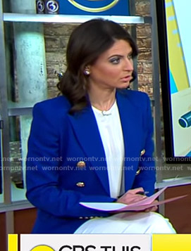 Bianna's blue blazer with gold buttons on CBS This Morning