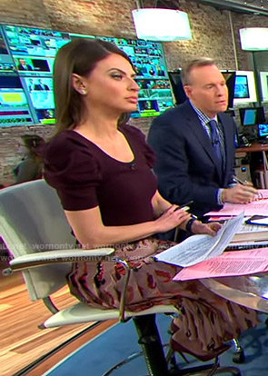 Bianna's pink feather print pleated skirt on CBS This Morning
