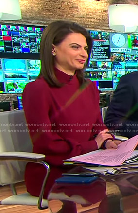 Bianna's red mock neck dress on CBS This Morning
