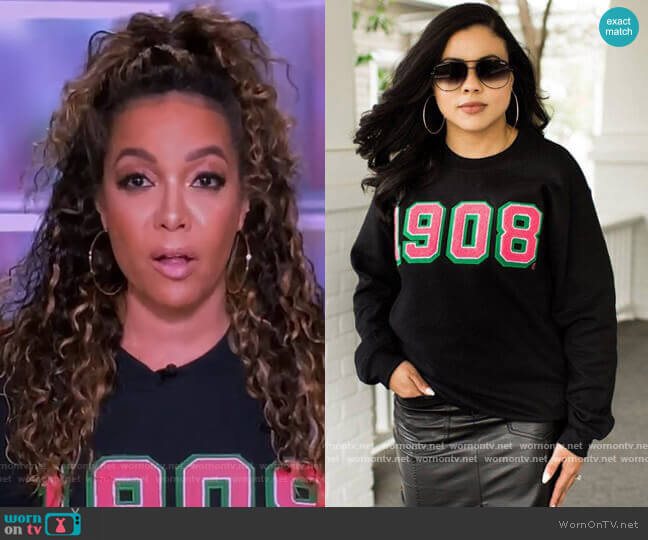 Black 1908 Sweatshirt by Fashionably Greek worn by Sunny Hostin  on The View
