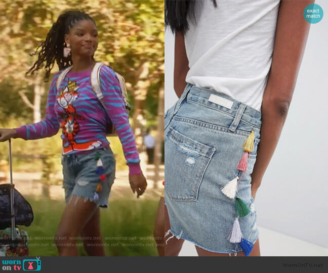 Boyfriend Denim Festival Shorts with Tassels by Blank NYC worn by Skylar Forster (Halle Bailey) on Grown-ish
