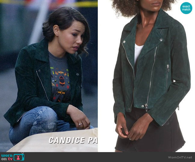 BlankNYC Suede Moto Jacket in Evergreen worn by Nora West-Allen (Jessica Parker Kennedy) on The Flash
