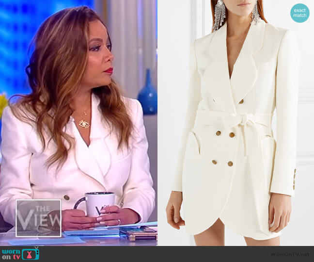 Tegan Piped Trim Blouse by L'Agence worn by Sunny Hostin  on The View