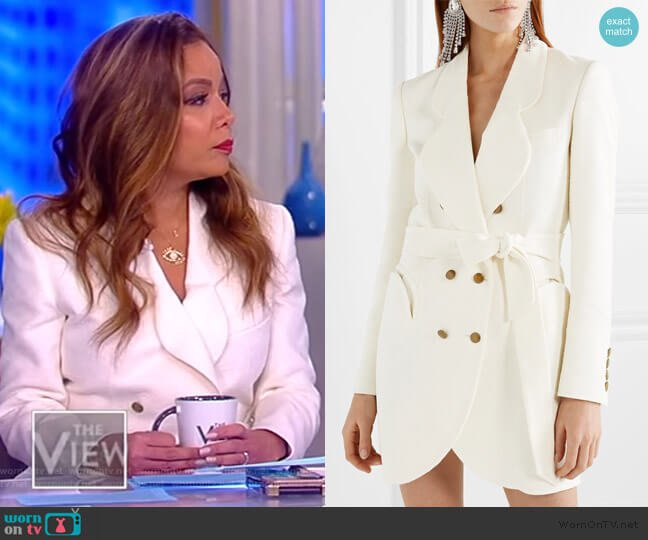 Tegan Piped Trim Blouse by L'Agence worn by Sunny Hostin (Sunny Hostin) on The View