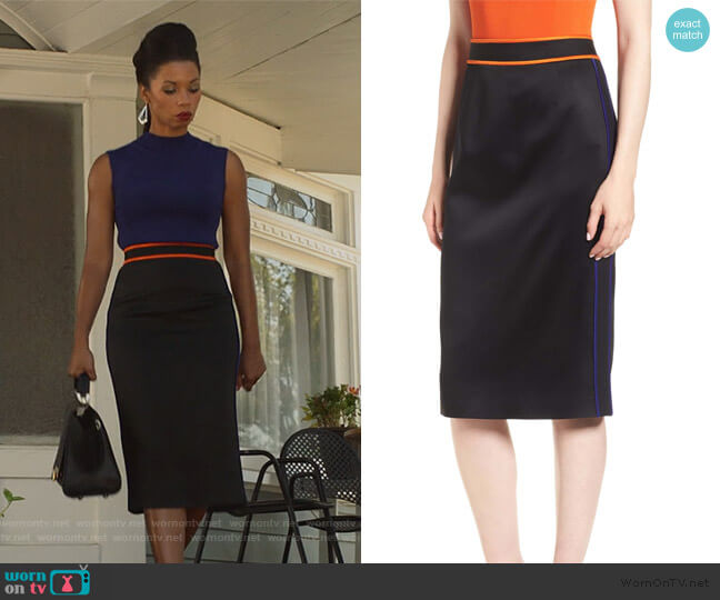Vartona Piped Pencil Skirt by BOSS worn by Catherine Wilder (Angel Parker) on Marvels Runaways