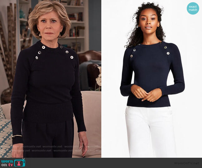 Navy Shoulder Button Sweater by Brooks Brothers worn by Grace (Jane Fonda) on Grace & Frankie