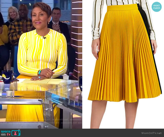 Colorblocked Twill Pleated Skirt by Calvin Klein 205W39NYC worn by Robin Roberts (Robin Roberts) on Good Morning America