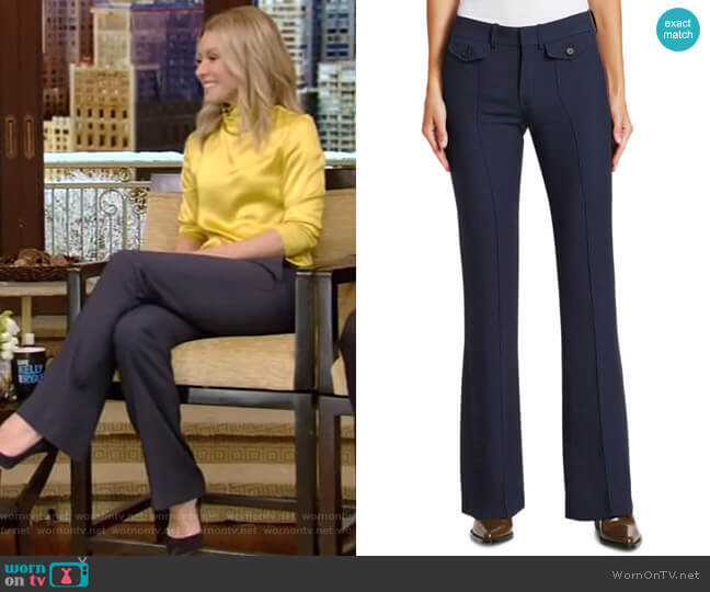 Cady Button-Front Trousers by Chloe worn by Kelly Ripa  on Live with Kelly & Ryan