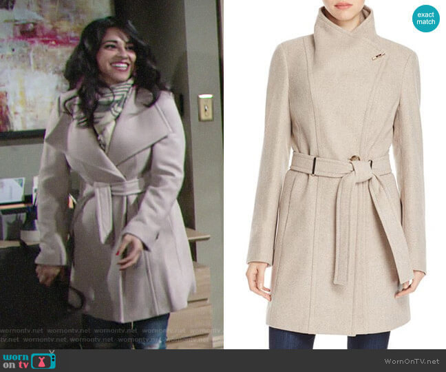 Calvin Klein Toggle Wrap Coat worn by Mia Rosales (Noemi Gonzalez) on The Young & the Restless