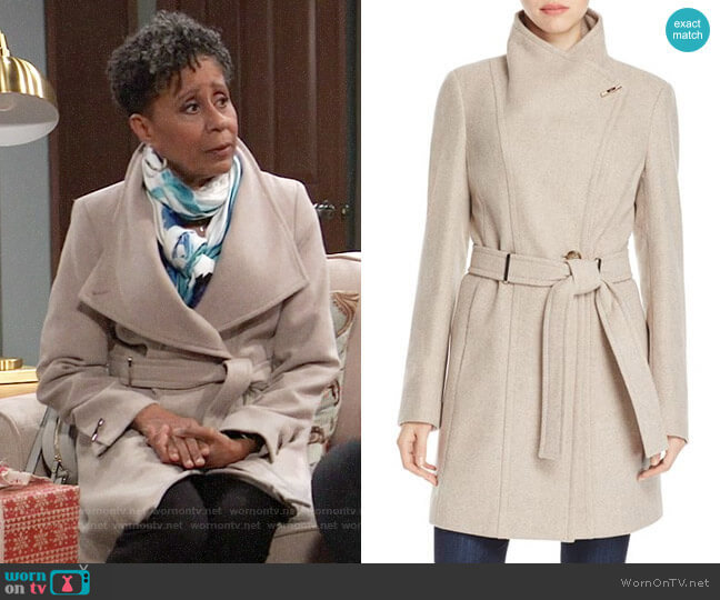 Calvin Klein Toggle Wrap Coat worn by Stella Henry (Vernee Watson) on General Hospital