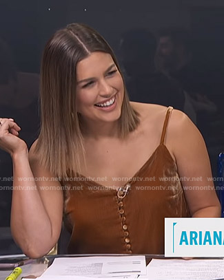 Carissa's brown velvet camisole on E! News Daily Pop