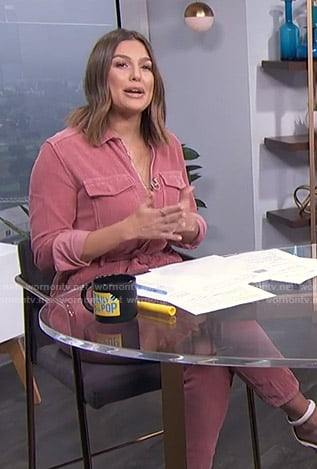 Carissa's pink corduroy jumpsuit on E! News Daily Pop