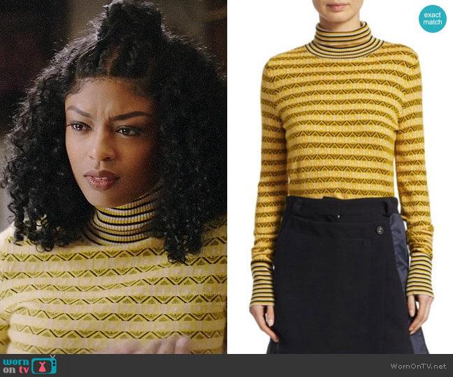 Carven Textured Turtleneck Pullover worn by Ali Finer (Javicia Leslie) on God Friended Me
