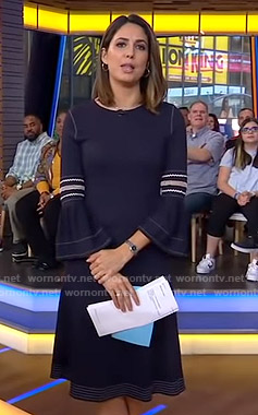 Cecilia's navy bell sleeve dress with white stitching on Good Morning America