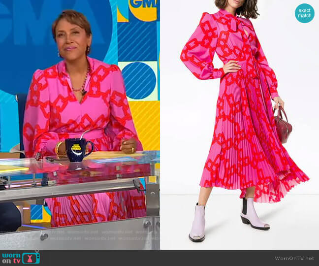 Chain Print Pleated Midi Dress by MSGM worn by Robin Roberts  on Good Morning America
