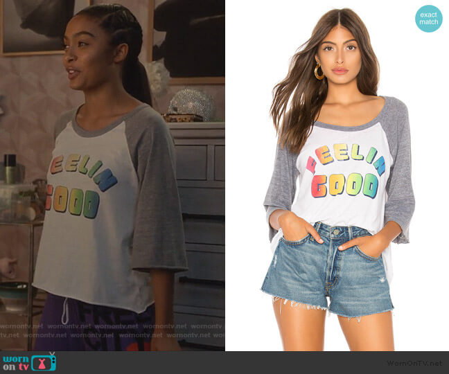Feelin Good Baseball Tee by Chaser worn by Zoey Johnson (Yara Shahidi) on Grown-ish