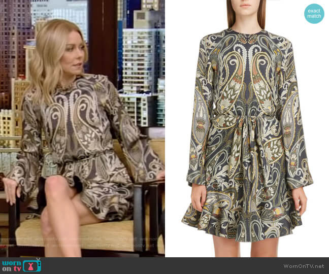 Paisley Silk Blend Minidress by Chloe worn by Kelly Ripa (Kelly Ripa) on Live with Kelly & Ryan