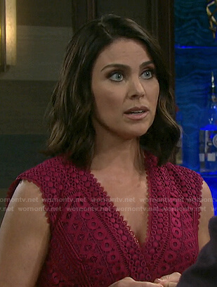 Chloe's pink v-neck lace dress on Days of our Lives