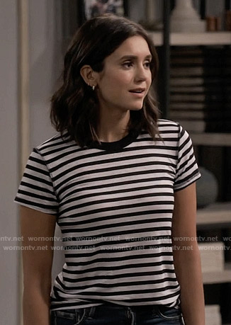 Clem's black and white striped tee on Fam