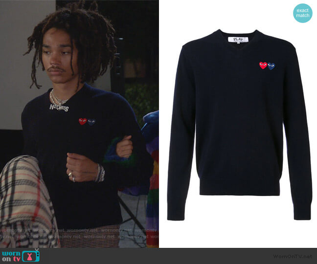 Brand Logo V neck Jumper by Comme Des Gargons PLAY worn by Luka Hall (Luka Sabbat) on Grown-ish
