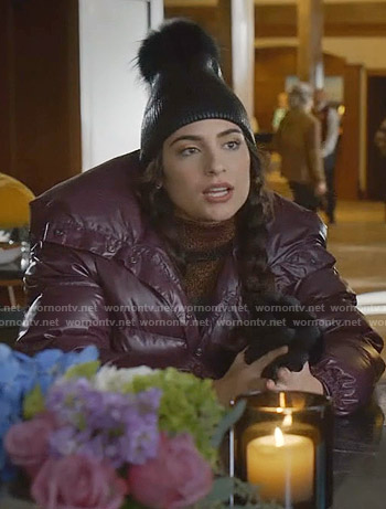 Cristal's striped turtleneck sweater and puffer jacket on Dynasty