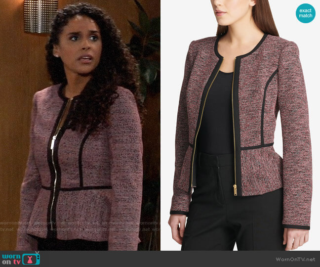 DKNY Knit Piped Peplum Jacket worn by Jordan Ashford (Briana Nicole Henry) on General Hospital