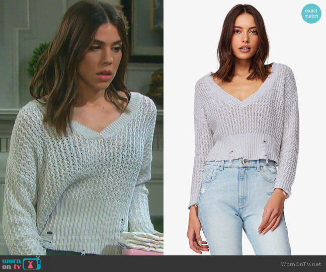 Freeman Distressed Sweater by DL1961 worn by Kate Mansi on Days of our Lives