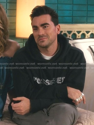David's black Possessed Hoodie on Schitt's Creek