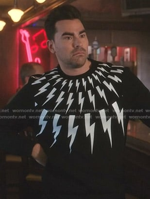 David's black lightning bolt print sweatshirt on Schitt's Creek