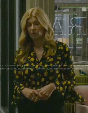 Debra's black rose print blouse on Dirty John
