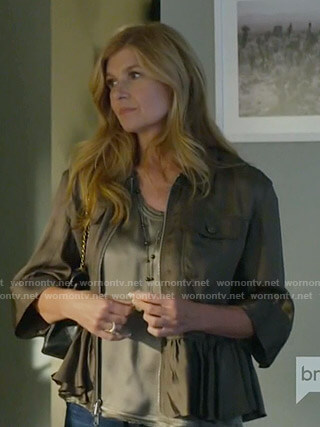 Debra's khaki peplum jacket on Dirty John