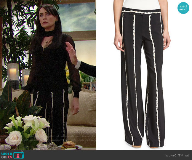 Derek Lam 10 Crosby Striped Silk Wide-Leg Trousers worn by Quinn Fuller (Rena Sofer) on The Bold & the Beautiful