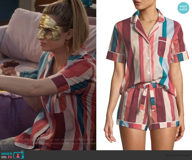 Striped Shorty Pajama Set by Desmond & Dempsey worn by Nomi Segal (Emily Arlook) on Grown-ish