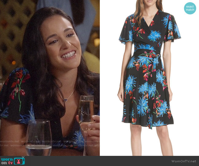 Diane von Furstenberg Flutter Sleeve Silk Wrap Dress worn by Amy Santiago (Melissa Fumero) on Brooklyn Nine-Nine