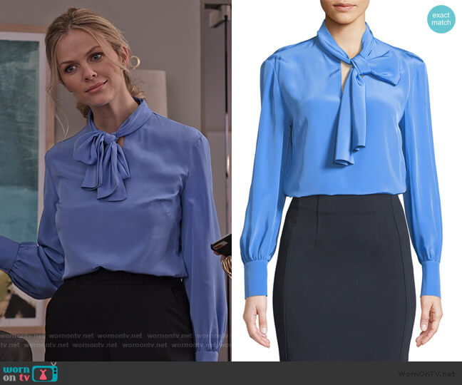 High Neck Long-Sleeve Silk Bow Blouse by Diane von Furstenberg worn by Mallory (Brooklyn Decker) on Grace & Frankie