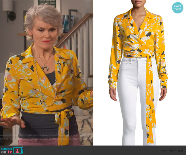 Long-Sleeve Floral Wrap Blouse by Diane von Furstenberg worn by Bonnie (Stephnie Weir) on Happy Together