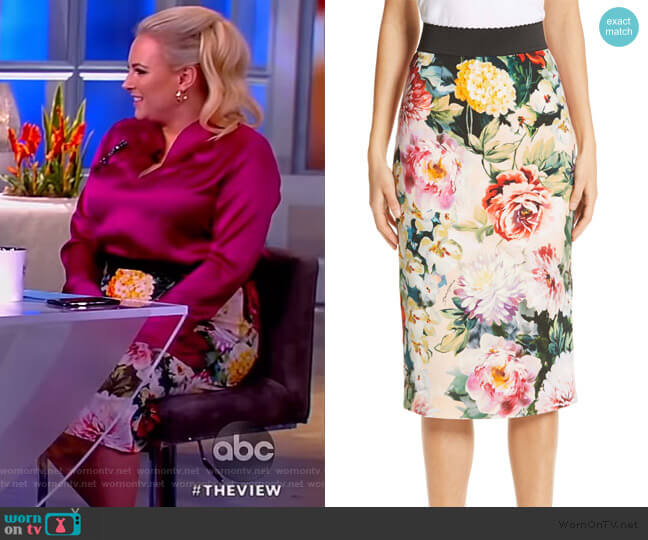 Floral Print Cady Pencil Skirt by Dolce & Gabbana worn by Meghan McCain  on The View