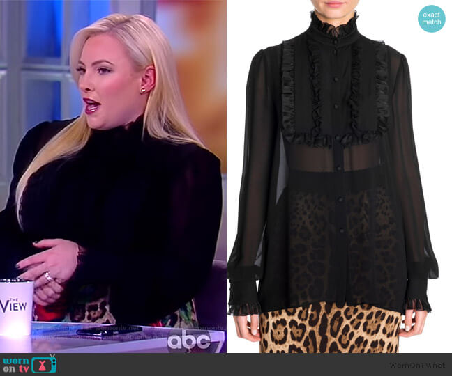 Silk Georgette Ruffle Bib Blouse by Dolce & Gabbana worn by Meghan McCain  on The View