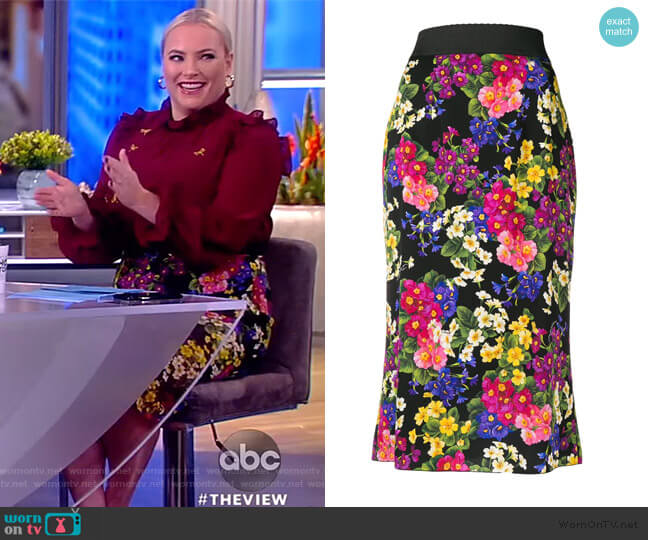 Floral-print silk-blend Skirt by Dolce & Gabbana worn by Meghan McCain  on The View